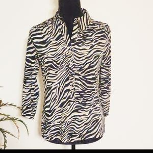 Alfani Long Sleeve Animal Print Blouse